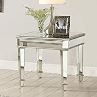 1PerfectChoice Contemporary Square Silver Mirrored End Table
