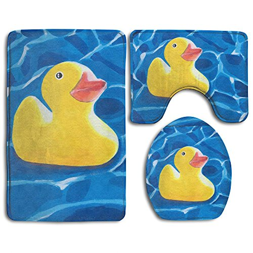 bber Duck Painting Art Skidproof Toilet Seat U Shape Cover Bath Mat Lid Cover 3 Piece Non Slip Bath Rug Mats Sets For Shower SPA ()