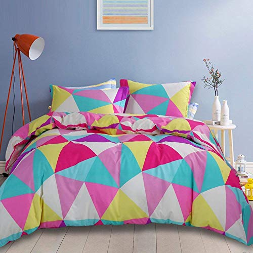 (NTBAY 3 Pieces Duvet Cover Set Microfiber Colorful and Vivid Triangle Printed Pattern Design with Hidden Zipper(King, Pink))
