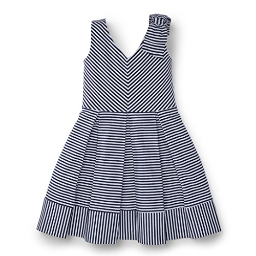 Hope & Henry Girls Blue and White Striped Knit Dress Made with Organic Cotton