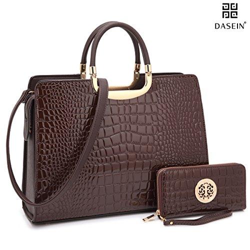 Dasein Patent Croco Briefcase Satchel Shoulder Bag Handbag (Brown Patent Leather Bag)
