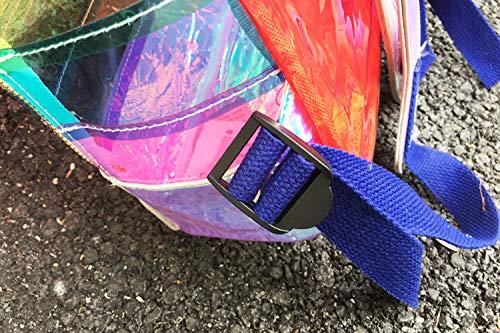 Mode Pnizun dos Couleur à Voyage par à rayé Laser la à Voir Main Sac transparent Sac Sac Sac plastique dos Orange Main en à sécurité féminine 5ErEYw