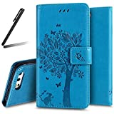 iPhone 6S Plus Stand Case,iPhone 6 Plus Wallet Case,iPhone 6S Plus Flip Case,iPhone 6 Plus PU Case Girl,SKYMARS Tree Cat Butterfly Embossed PU Leather Flip Kickstand Cards Slot Wallet Magnetic Closure Protection Book Style Case for iPhone 6 Plus / 6S Plus 5.5 inch Tree