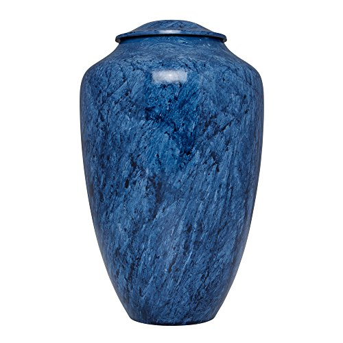 Blue Funeral Urn by Liliane Memorials - Cremation Urn for Human Ashes - Hand Made in Brass - Suitable for Cemetery Burial or Niche - Large Size fits remains of Adults up to 200 lbs - Ambleu Model by Liliane Memorials