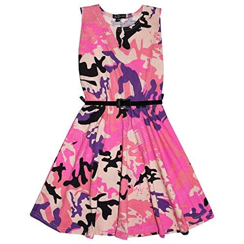 Girls Skater Dress Kids Designer's Camouflage Print Summer Party Dresses 5-13 (Pink Camo Dress)