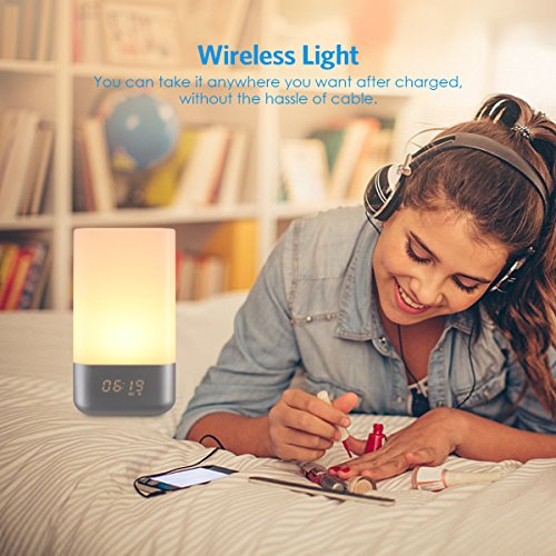 AMIR Wake-Up Light Beside Lamp Alarm Clock with Sunrise Simulation, 5 Natural Sounds, Rechargeable, Touch Sensor Multicolor Dimmable Night Light, Simple Design and Healthy Style (Non-Plug in) by AMIR (Image #4)