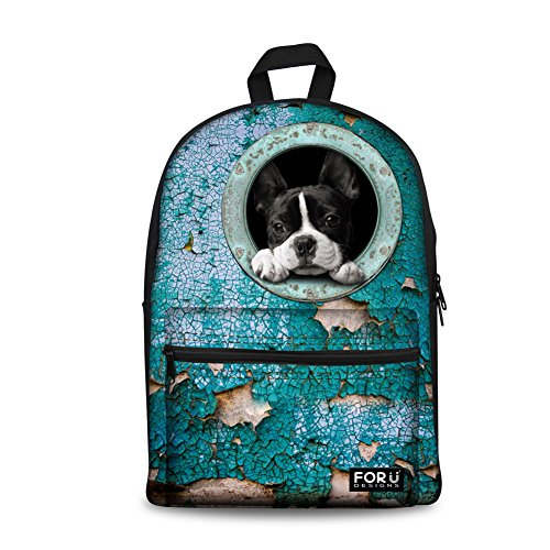 - FOR U DESIGNS Funny Leisure Blue Dog Animal Campus Bookbag School Backpack for Boys
