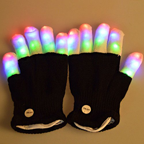 Cinderella Cleaning Costume (Fashion Cool LED Rave Flashing Gloves Glow 7 Mode Light Up Finger Lighting Black)
