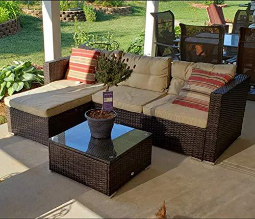 PHI VILLA Outdoor Sectional Sofa – Wicker Patio Furniture Set (Beige)