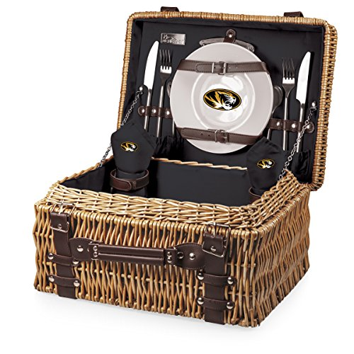 NCAA Missouri Tigers Champion Picnic Basket with Deluxe Service for Two, Black