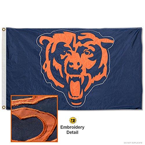 Chicago Bears Embroidered Nylon (Chicago Bears Applique Banner Flag)
