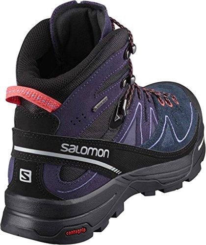 Salomon X Alp Mid Ltr Gtx W, Botas para Mujer Negro (Black/Nightshade Grey/Coral Punch)