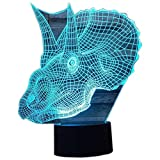 3D Illusion Night Light Dinosaur LED Desk Table Lamp 7 Color Touch Lamp Art Sculpture Lights Birthday Gift for Kids Bedroom Decor