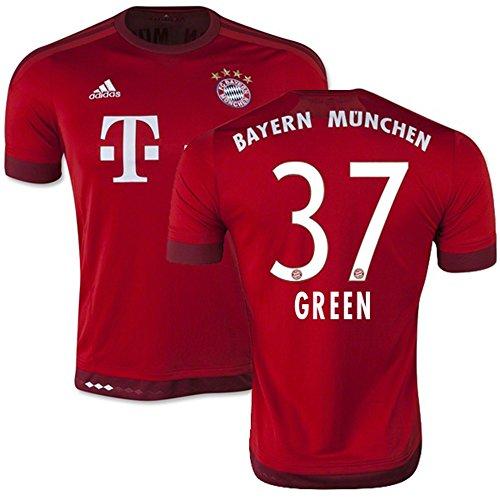 天使マークされた現実的Adidas GREEN #37 Bayern Munich Home Jersey 2015-16(Authentic name & number)/サッカーユニフォーム FCバイエルンミュンヘン ホーム用 グリーン