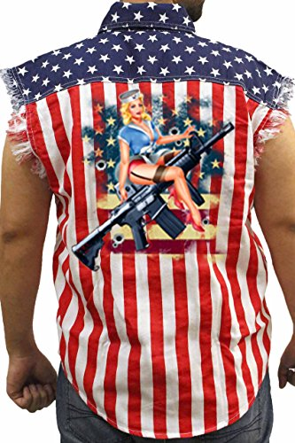Men's USA Flag Sleeveless Denim Shirt Pin Up Girl Assault Rifle: USA FLAG (Med)