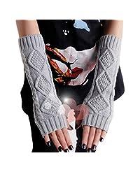 Women Girls Long Fingerless Gloves Ladies Arm Wrist Warm Winter Mitten Glove