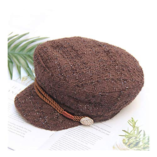 - New Women Spring Hat Fashion Tweed Newsboy Caps Vintage Solid Color Flat Top Visor Caps Female Military Hats Brown