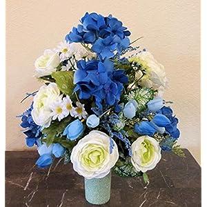 Blue Hydrangea Cemetery Arrangement, Cemetery Arrangement with Ranunculus, Flowers For Cemetery Vase 5