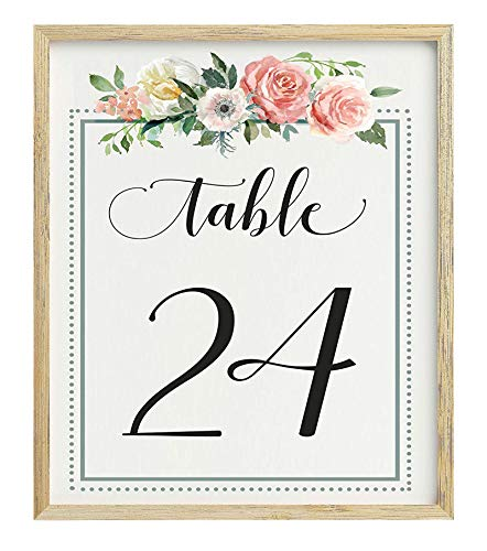 Darling Souvenir Calligraphy 1-50 Floral Table Numbers Wedding Reception Décor Table Cards (4x6 Inches)