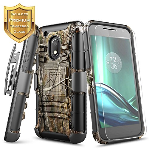 Moto G4 Play Case with [Tempered Glass Screen Protector], NageBee [Heavy Duty] Armor Shock Proof [Belt Clip] Holster [Kickstand] Combo Case For Motorola Moto G Play (4th gen)- Camo (Phone Case Moto Cell Camo G)