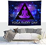 Festhad Purple Blue Yoga Meditation Tapestry Ombre Style Starry Universe Wall Tapestry Yoga Everyday Bedside Wall Blanket Couch Bedroom Living Room Dorm Decor Bohemian Mandala Wall Hanging 5951in