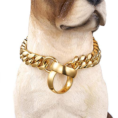 Aiyidi Dog Collar Heavy 14mm Stianless Steel 18K Gold Plated Curb Cuban Link Slip Chain Dog Training Designer Collar Perfect for Medium Large Dog (14mm, 20inches)