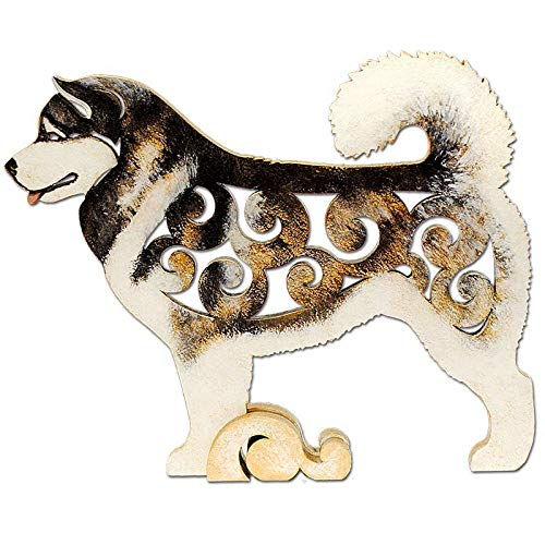 Alaskan Malamute Dog, dog figurine, dog statue made of wood (MDF), statuette hand-painted