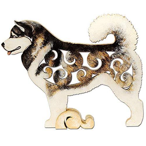 MDF dog figurine dog statue made of wood statuette hand-painted Alaskan Malamute Dog