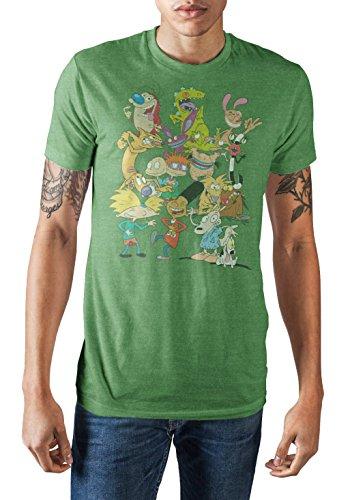 (Nickelodeon 90's Nick Rewind Group Shot Men's T-Shirt (Heather Green,)