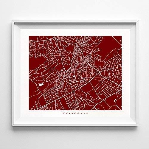 Harrogate England Map.Amazon Com Harrogate England Street Road Map Poster Home Decor