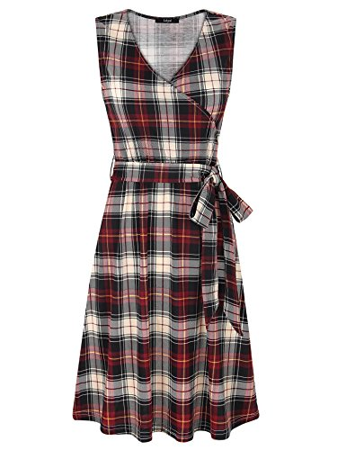 Laksmi Party Dress for Women,Ladies Summer Classical Sleeveless A Line V Neck Vintage Plaid Print Wrap Fit and Flare Dress,Red Black M (Wrap Print Flare)