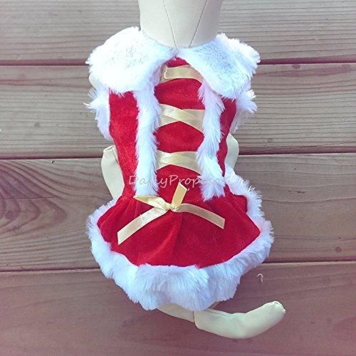 [PX4-6 Christmas Dog Mr. & Mrs. Santa Hoodies Small Size Pet Clothes XS-XL USA (Ms. Santa Gold Stripe French Maid,] (Mr And Mrs Claus Dog Costumes)