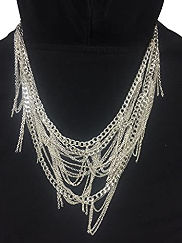 Landver Silver Bohemian Waterfall Chain Necklace (Multi Strand Statement Necklace)