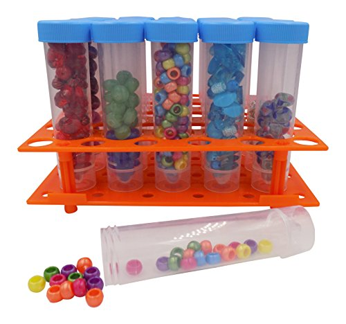Bead Storage Solutions Medium Containers – Plastic Test Tubes for Beads – 20 Screw Top Storage Tubes with Rack for Jewelry, Beads, Crafts and More - See and Find Beads Easily! by Collectibles and Video