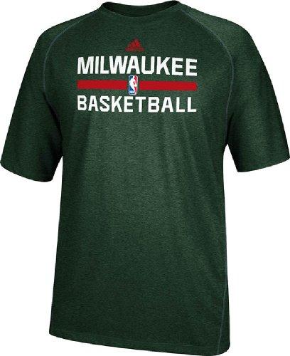 Milwaukee Bucks Heather Green Climalite Practice Short Sleeve Shirt by Adidas (L=46)