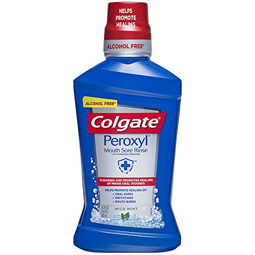 Colgate Peroxyl Mouth Sore Rinse, Mild Mint - 500mL, 16.9 fluid ounce