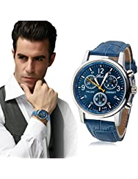 Business Mens Watch Franterd Luxury Crocodile Faux Leather Analog Blue Watches