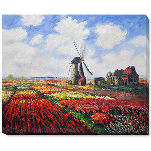 (overstockArt Tulip Field with The Rijnsburg Windmill with Gallery Wrap Framed Oil Painting, 22
