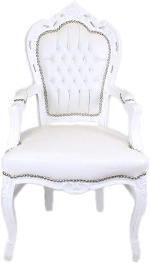 Casa Padrino Barock Esszimmerstuhl WeißWeiß Lederoptik mit Armlehnen Barockstuhl Antik Stil Stuhl