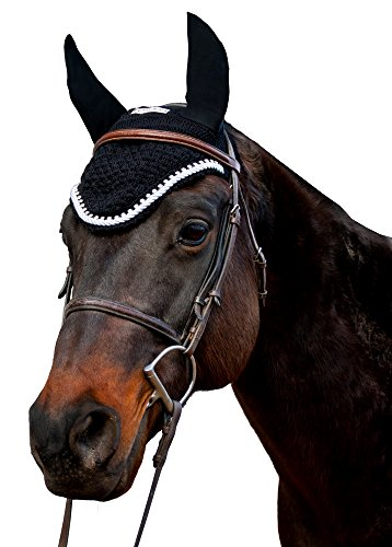 Couture Bling - Equine Couture Fly Bonnet with Silver Rope & Crystals - Pony Color - Black, Size - Full