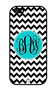 iZERCASE Monogram Personalized Black and White Chevron with Black Initials Pattern iphone 5 / iPhone 5S case - Fits iphone 5, iPhone 5S T-Mobile, AT&T, Sprint, Verizon and International (Black)