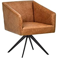 Rivet Vibe Swivel Leather Office Chair (Medium Brown)