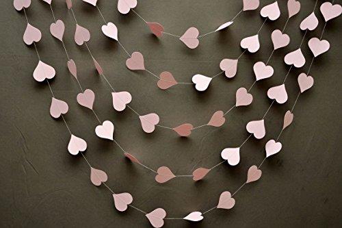 Wedding decorations - Wedding garland - Heart garland - Pastel pink garland - Paper garland - Wedding garland - Baby shower - Bridal shower - Paper Heart Garland