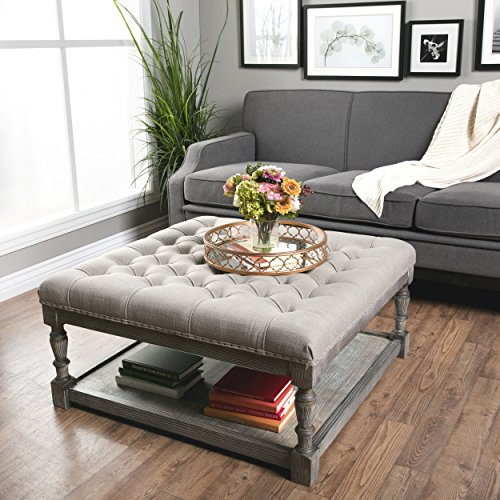 Button Tufted Linen Ottoman for Coffee Table Books Rest and Quick Storage for Other Essentials Home Living Room Furniture with Elegantly Aged Grey Wooden Frame Square, BONUS ()