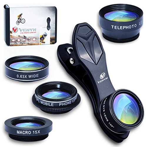 5 in 1 Kit Phone Camera Lens, 2X Telephoto Lens, Wide Angle Lens & Macro Lens, Fisheye Lens, Cell Phone Camera Lens for iPhone X, 8, 7, 6s, 6, 5s & Samsung & Most of Smartphone & Android, CPL Filter