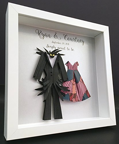 Personalized Wedding Anniversary Gift, Nightmare Before Christmas, Jack and Sally Paper Origami Bride & Groom Shadowbox Frame Wall Art Gift by Paint & Paper Craft