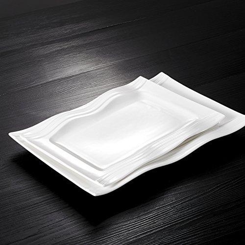 Ivory Rectangular Platter (Malacasa, Series Mario, 2-Piece Ivory White Porcelain Dinnerware Set of 11
