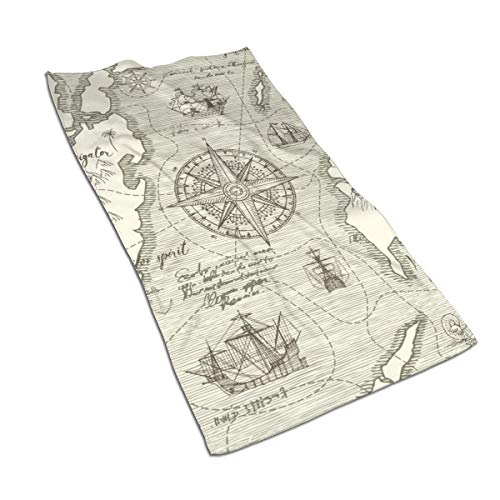 Gaojimaojin Wind Rose Nautical Chart Theme of Travel Floral Print Kitchen Towel Dish Towel Hand Towel Stove Top Towel and Barbeque Towel by Mainstays 28 X 18 Inch