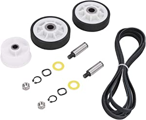 12001541 Dryer Drum Roller Kit & WP6-3700340 Dryer Idler Pulley & WP33002535 Dryer Drum Belt Replacement for Maytag Crosley Dryer. Dryer Repair Kit Replace Part 303373, 33001783, 33001777, 33002535