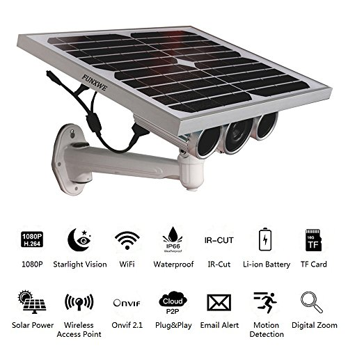 Funxwe 1080P Full-HD Solar Power WiFi IP Camera Wireless AP Network 2.0 Megapixels Starlight Night Vision Outdoor Battery Powered by Funxwe